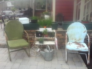 Garden chairs and plants